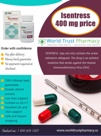 Isentress 400 mg Price